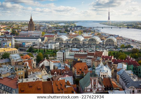 Top view of the old city of Riga and river Daugava - stock photo