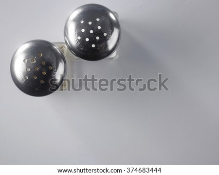 top view of the pepper and salt shaker - stock photo