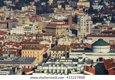 Top view of the St. Antonio church and the Trieste roof's, Italy