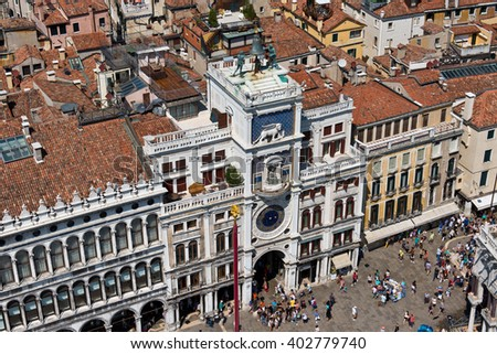 Top view of the St. Mark's Square in Venice