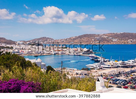 Top view of the town and the old port of Mykonos island - stock photo