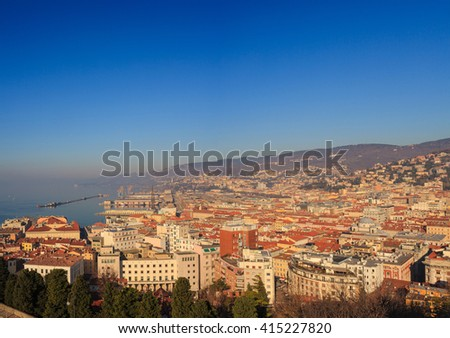 Top view of the Trieste roof's, Italy - stock photo