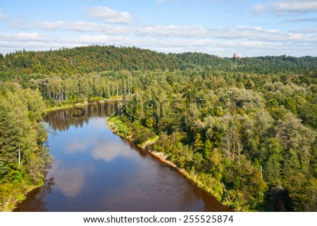 Top view of the valley of the river Gauja and Turaida castle, Latvia - stock photo