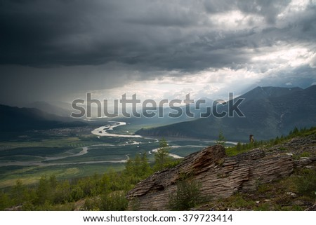 Top view of the valley of the river Indigirka. Oimyakon area. Yakutia. Russia.