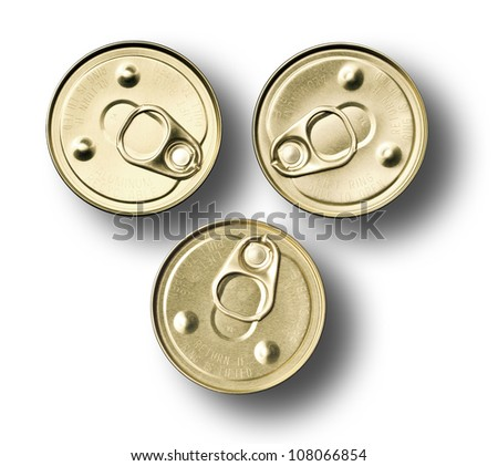 Top view of three food cans on white background - stock photo