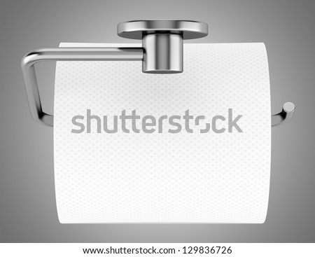 top view of toilet paper on holder isolated on gray background. Top View Toilet Paper On Holder Stock Illustration 129836726
