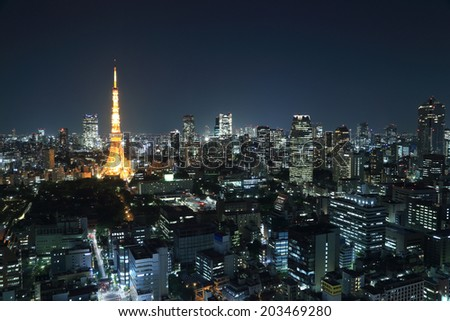 top view of Tokyo cityscape at night, Japan - stock photo