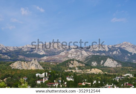 top view of township Simeiz and panorama of mountains, Crimea, Russia - stock photo