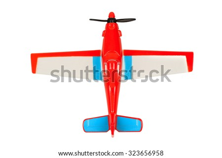 top view of toy plane isolated on white - stock photo