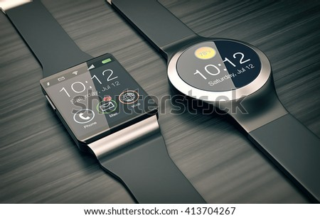 top view of two smartwatches on wooden background (3d render)