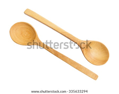 top view of two wooden spoons on white background
