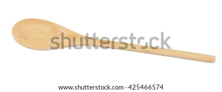 Top view of used wooden spoon isolated
