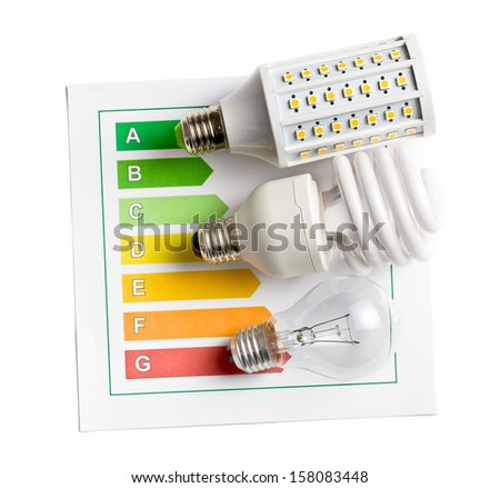 top view of various lightbulbs with energy label on white background - stock photo