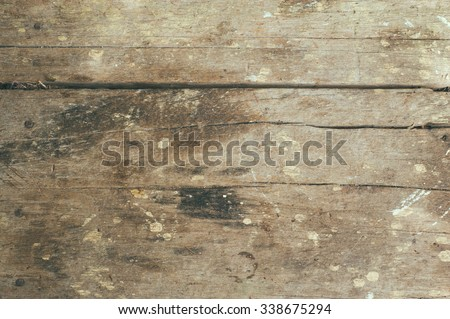 Top view of vintage and old wooden table background. - stock photo