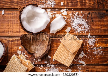 Top view of wafers filling with white chocolate and coconut - stock photo