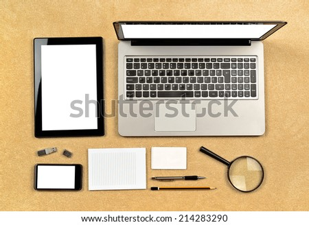 Top View of Web Designer And Analytics Tools for creating web sites, organized neatly on table top. - stock photo