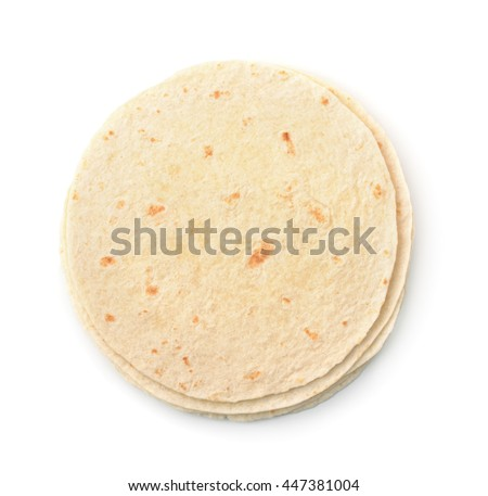 Top view of wheat flat bread  isolated on white - stock photo
