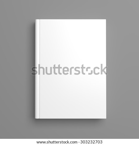 Top view of white blank book cover on grey background with shadow