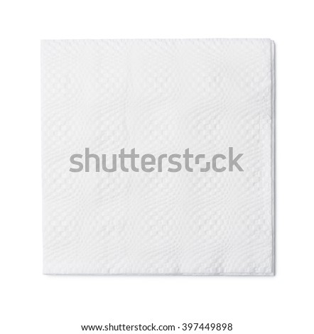 Top view of white paper napkin isolated on white - stock photo