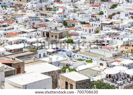 Top View Of White Roofs Of Lindos Town, Rhodes Island, Greece