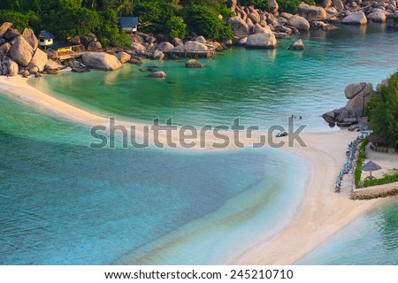 top view of white sand beach of Nang Yuan Island beautiful destination sea heaven place in southern of thailand  - stock photo