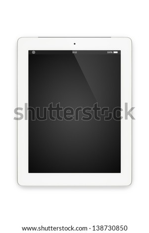 Top view of white tablet computer in portrait orientation isolated on white background. You can put your own interface or inscription on the screen. - stock photo