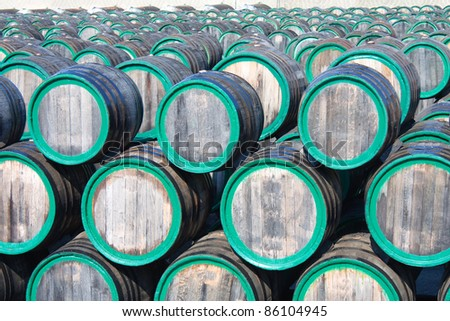 Top view of wine barrels on madeira wine-yard - stock photo