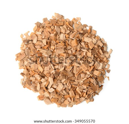 Top view of wood chips isolated on white - stock photo