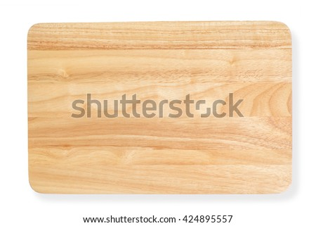 Top view of wooden cutting board, clipping path