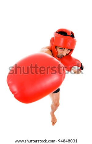 Top view of young Boxer fighter with boxing helmet and gloves over white background - stock photo