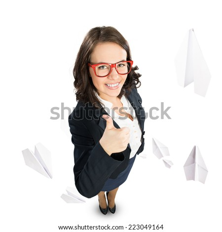 Top view of young businesswoman celebrating success - stock photo