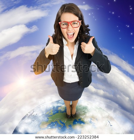 Top view of young funny woman showing thumbs up. Elements of this image are furnished by NASA