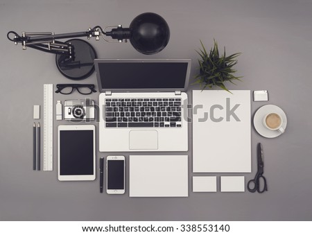 Top view office corporate design mockup template - stock photo