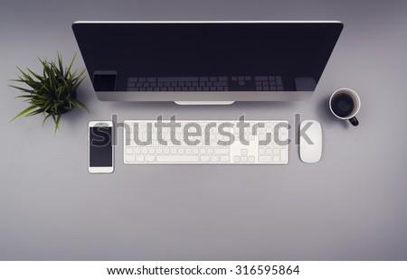 top view office desk hero header - stock photo