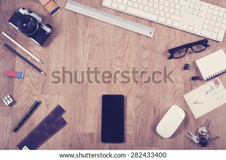 Top view office desk - hero header image - stock photo