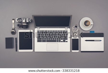 Top view office style desk - stock photo