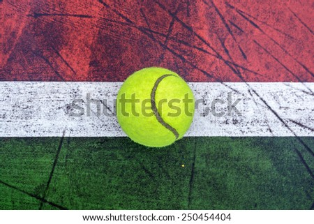 Top view old concrete tennis court - stock photo