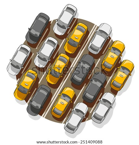 Top view on a lot of cars standing in a traffic jam. - stock photo