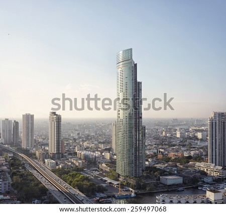 Top view on Bangkok city line with scyscapers - stock photo