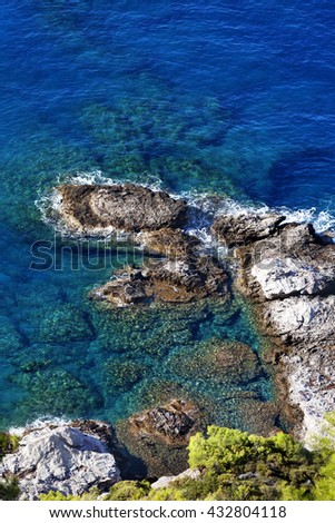 Top view on blue clear sea at sun day. Mediterranean sea, Turkey. - stock photo