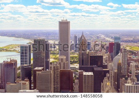 top view on chicago downtown  - stock photo