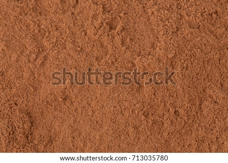 Top view on cocoa powder closeup background
