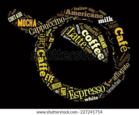Top view on coffee mug word cloud - stock photo