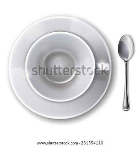Top view on empty white cup with saucer and  spoon on a white background. - stock photo