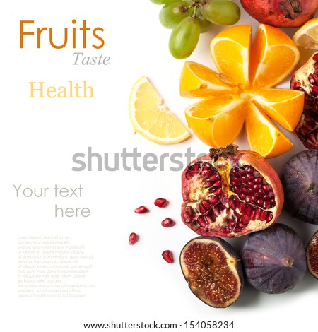 Top view on group of fresh fruits over white with sample text - stock photo