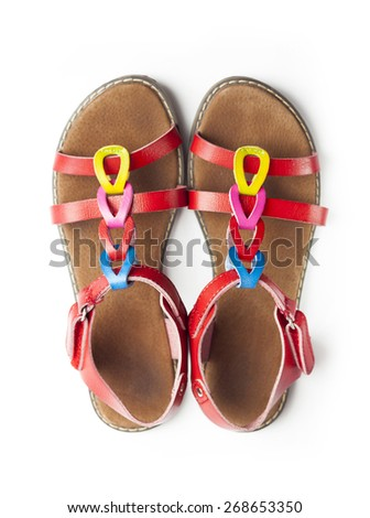 Top view on pair of colorful female sandals - stock photo