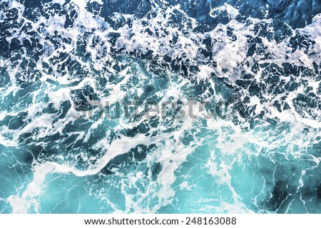 Top view on sea waves - stock photo