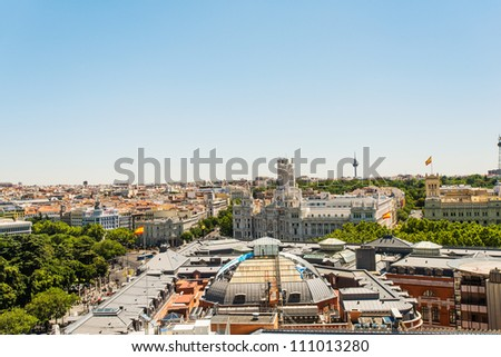 Top view on streets and houses of Madrid, Spain
