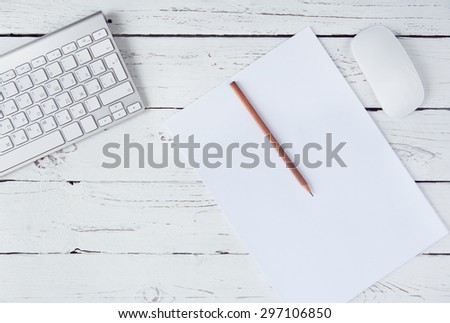 Top view on the artist workplace - stock photo