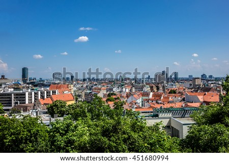 Top view on the beautiful old buildings in the old town of Bratislava city. Slovakia.